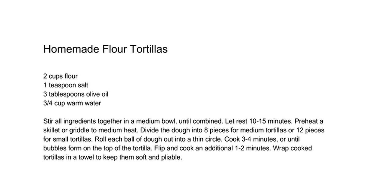 Homemade Flour Tortillas - Google Docs