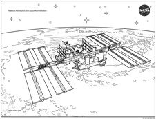international space station coloring sheet that students can use to differentiate the different modules