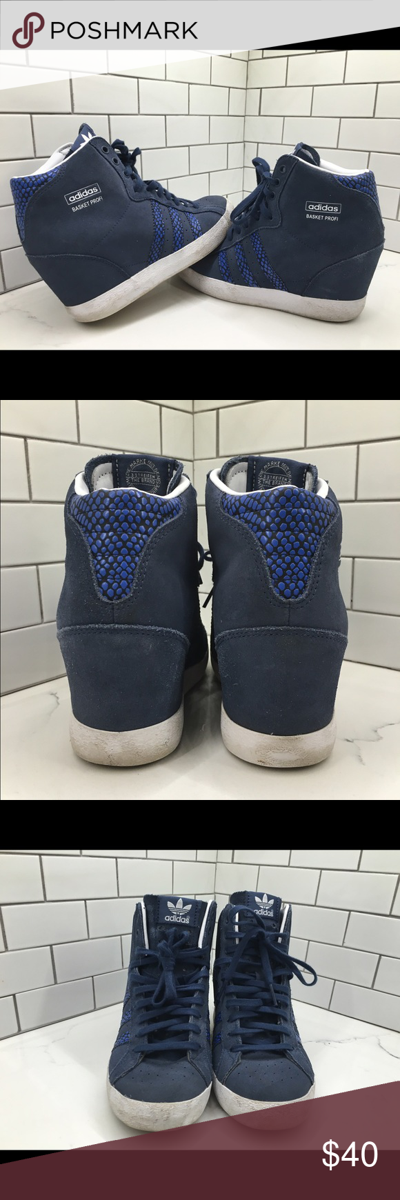 1322889cc02 Adidas Originals Basket Profi Up Wedge Sneakers Used only a Few Times
