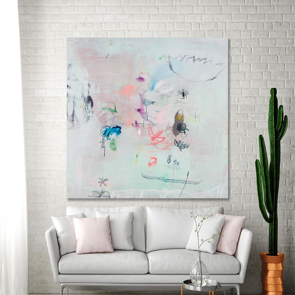 Abstract painting print extra large wall art above bed large green