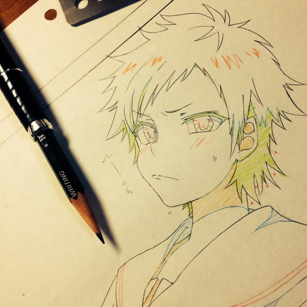 ANIME ART anime boy. . .angry expression. . .blushing
