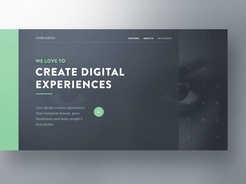 Core Media Hero Exploration Web Design Web Layout Design Web Template Design