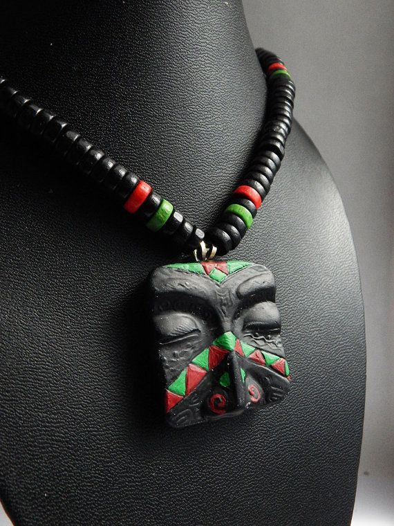 RBG Mens African Necklace RBG Mask Pendant Jewelry Mens Beaded