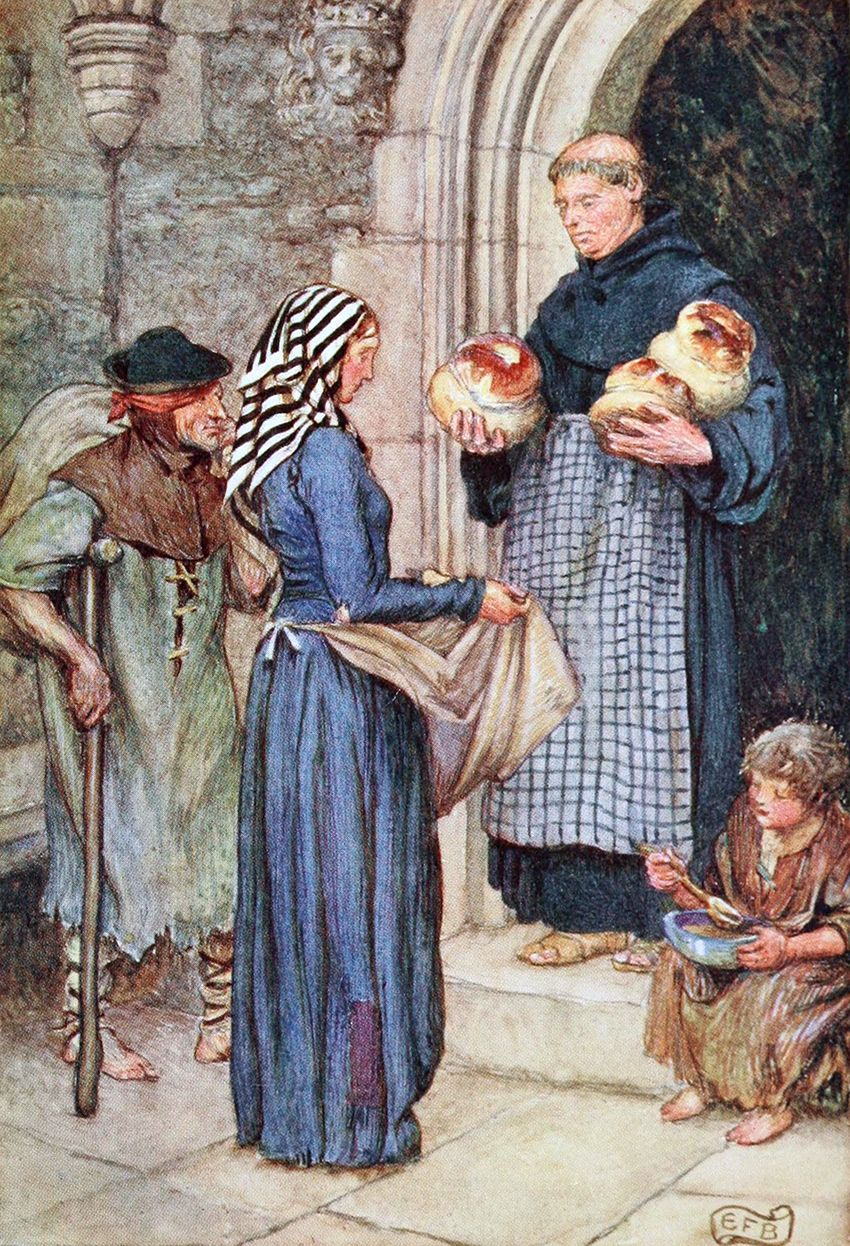 """The poor also crowded to the monastery gate and were fed ... Illustration by Eleanor Fortescue-Brickdale from """"The Gathering of Brother Hilarius"""" (1913)"""