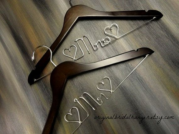 Mr and Mrs Hangers Wedding Dress Hangers by OriginalBridalHanger, #WeddingDressHangers #Mr&MrsHangers, $40