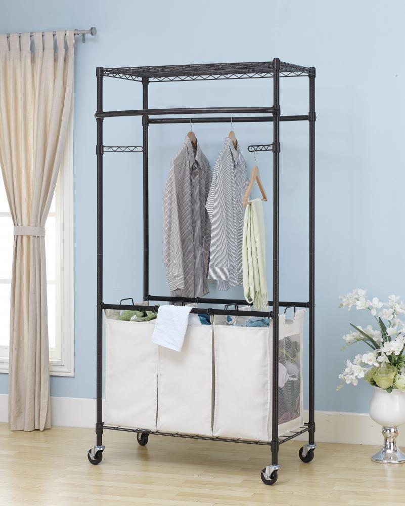 New bronze tier rolling clothing garment rack shelving wire shelf