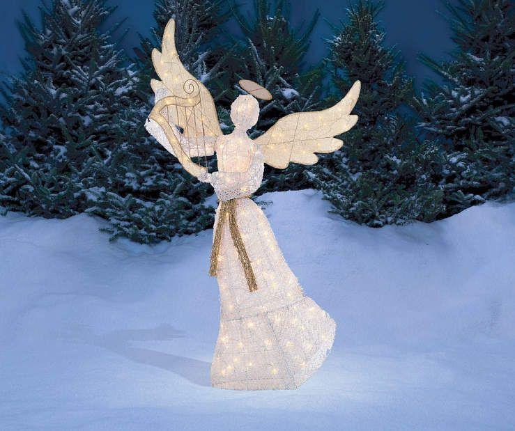 Winter Wonder Lane Light Up Angel With Harp 5 Outdoor