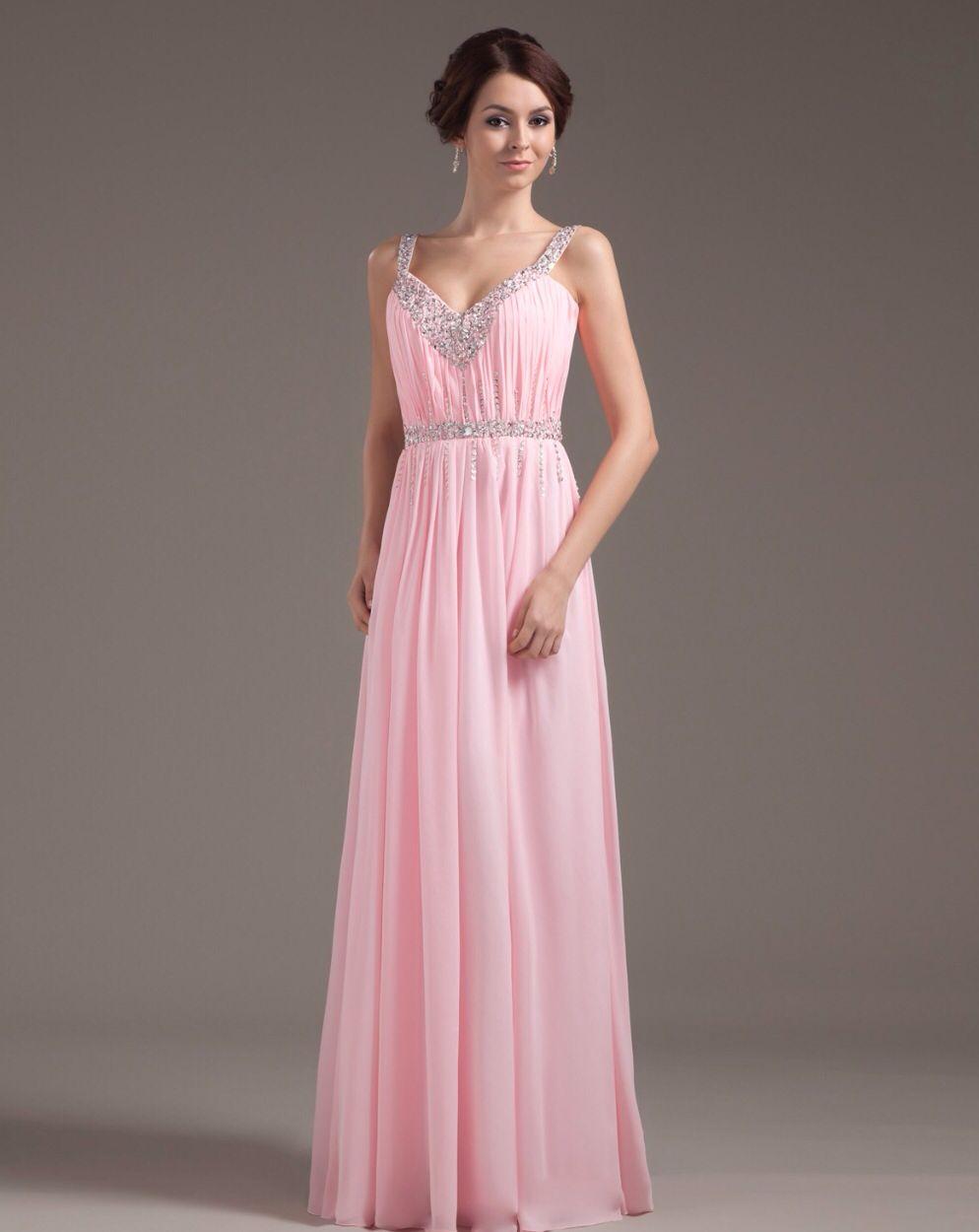 Baby pink maxi prom dress | Prom | Pinterest