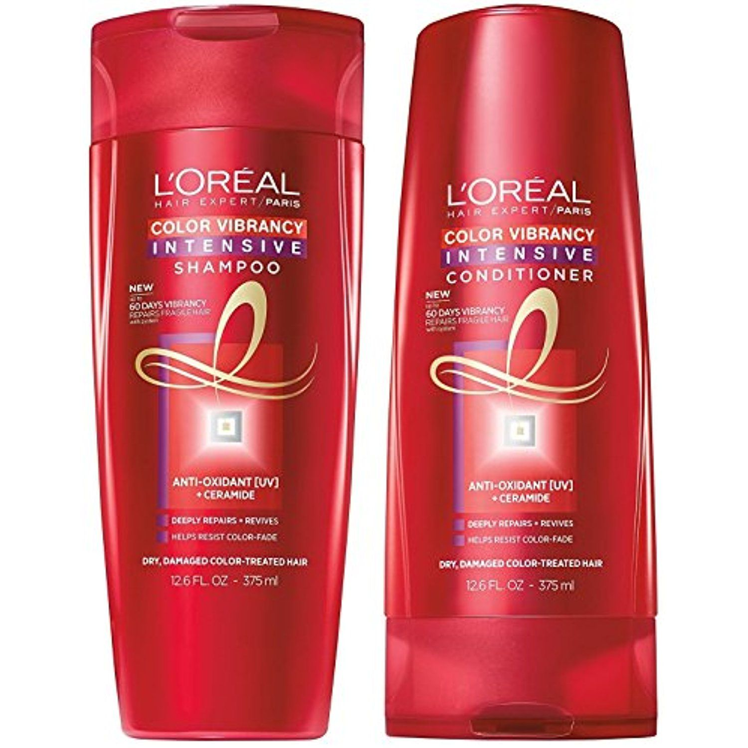 L Oreal Color Vibrancy Intensive Shampoo And Conditioner Set 12 6 Ounces Each Bundle 2 Items Shampoo Conditioner Set Drugstore Hair Products Shampoo