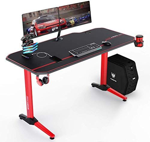 VIT 55 Inch Ergonomic Gaming Desk, T-Shaped Office PC Computer Desk with Full Desk Mouse Pad, Gamer Tables Pro with U...