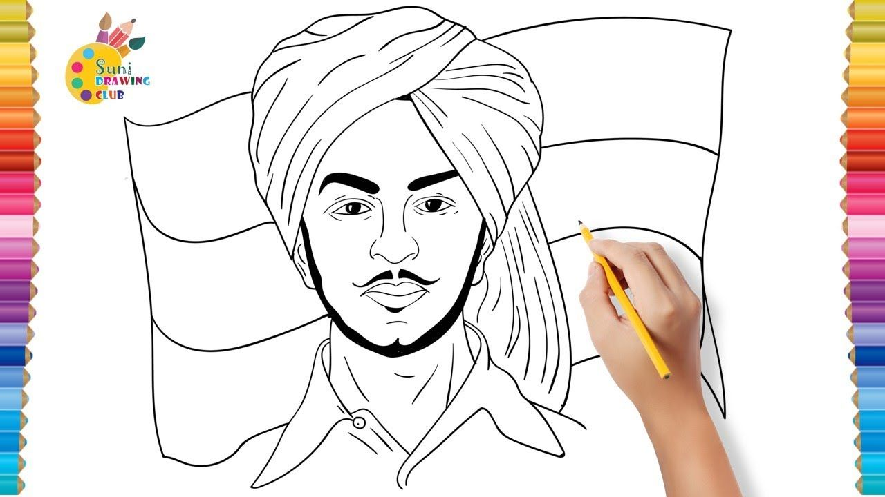 How to Draw and Colour Shaheed Bhagat Singh in 2020