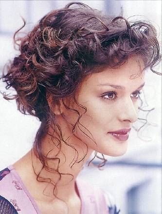 Romantic Curly Updo Hairstyle Long Dark Brown Curly Hair Style With Images Curly Hair Styles Curly Hair Updo Hair Styles