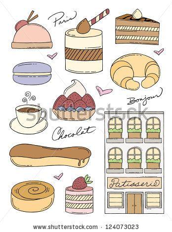 french bakery doodles stock vector great bakes 1 pinterest rh pinterest com Paris Bakery Clip Art Paris Bakery Clip Art