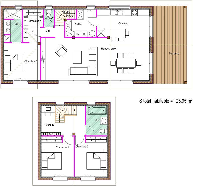 Exemples de plans - Dubourg Construction - Maisons en bois Landes 40 - plan maison m chambres