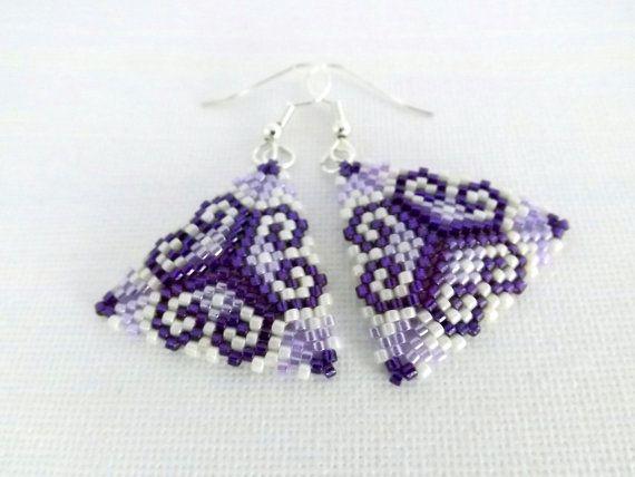 Peyote Earrings / Peyote Triangle Earrings / by MadeByKatarina