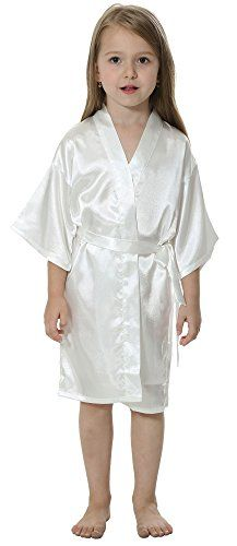 ed0ed108f06 Amazon.com  JOYTTON Kids  Satin Rayon Kimono Robe Bathrobe Nightgown ...