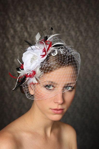 White Red Black Birdcage Veil Bridal Head Piece By Klaxonek 142 00