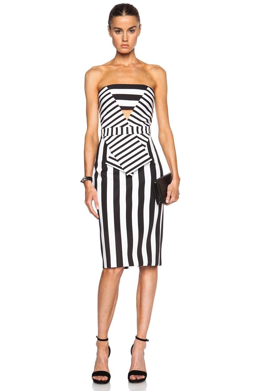 Cushnie et ochs black striped neoprene strapless dress week