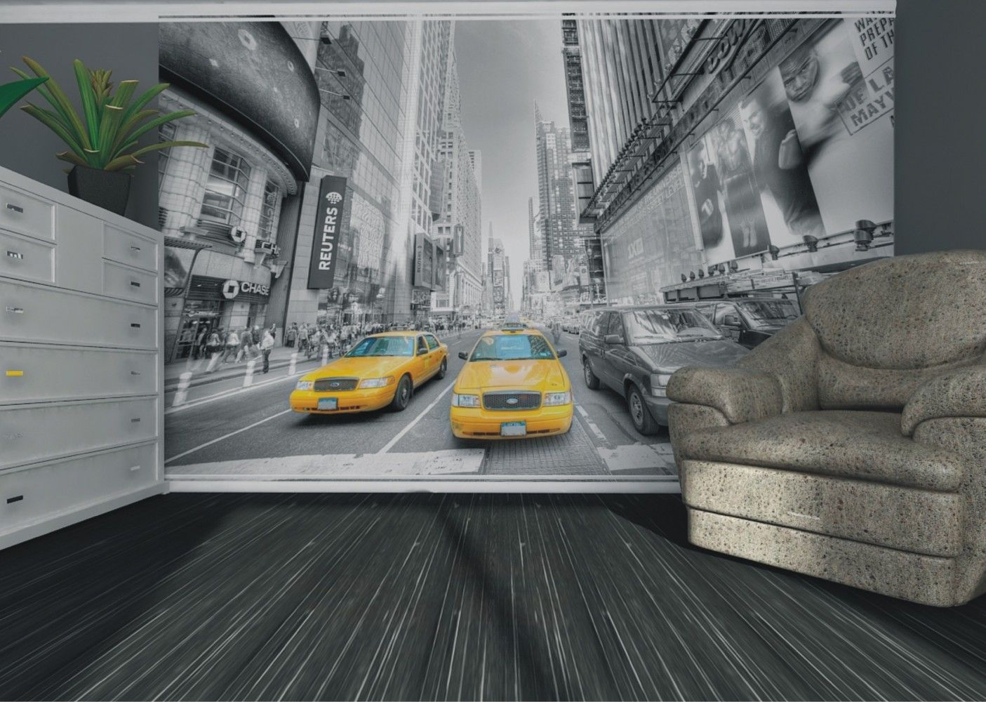 Wall mural wallpaper New York taxi Yellow Cap Manhattan NYC photo