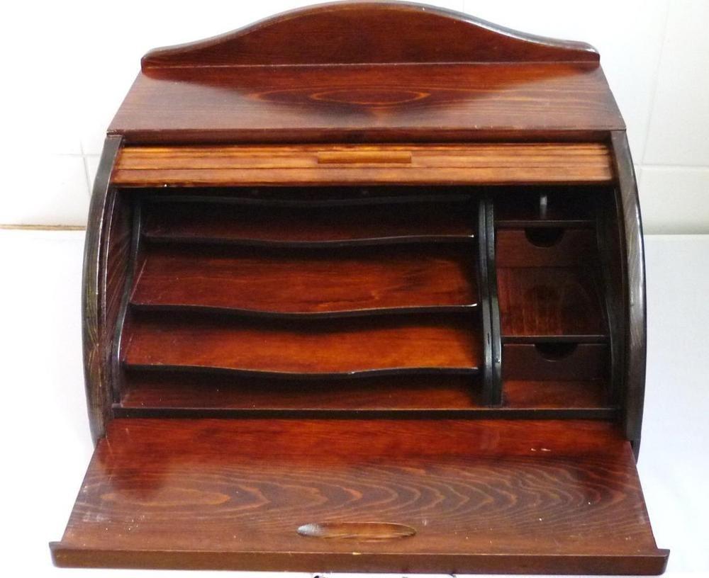 Romero LLopis Wooden Bureau Writing Desk with Blind 28.5cm x 37cm x 46cm | eBay