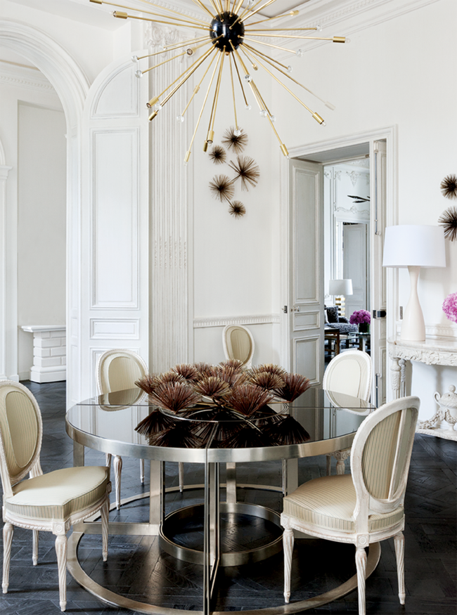 lauren santo domingo's paris apartment, louis xvi chairs, sputnik