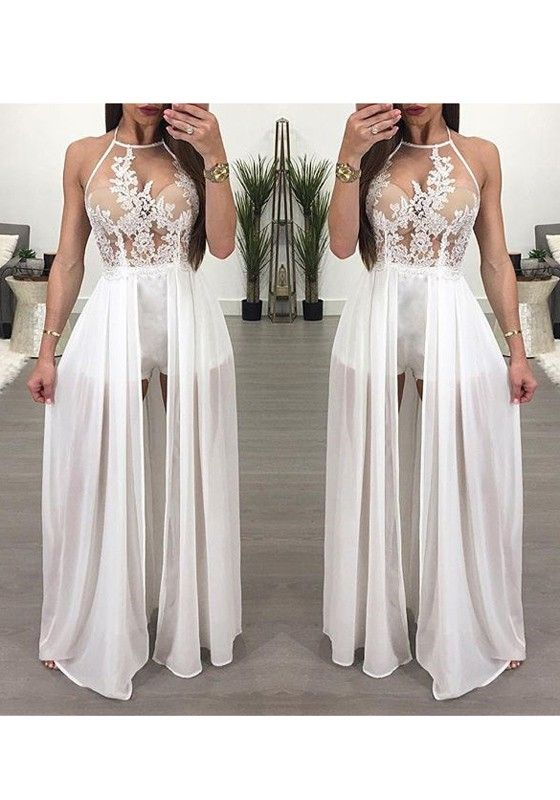 2cce15c1fa White Patchwork Lace Grenadine Halter Neck Chiffon Short Jumpsuit With Maxi  Overlay