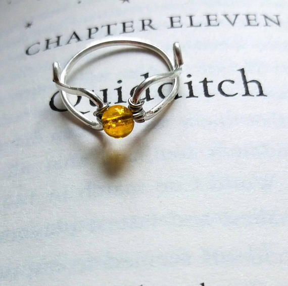 Golden Flying Ball Citrin Ring – Versprechensring, Verlobungsring, Ehering – Harry Potter inspiriert