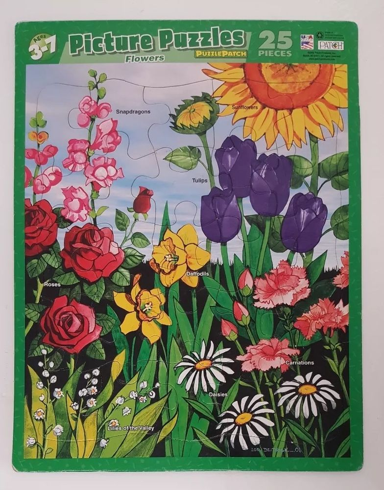 Puzzle Patch 25 Piece Picture Tray Flowers USA Made Ages 3