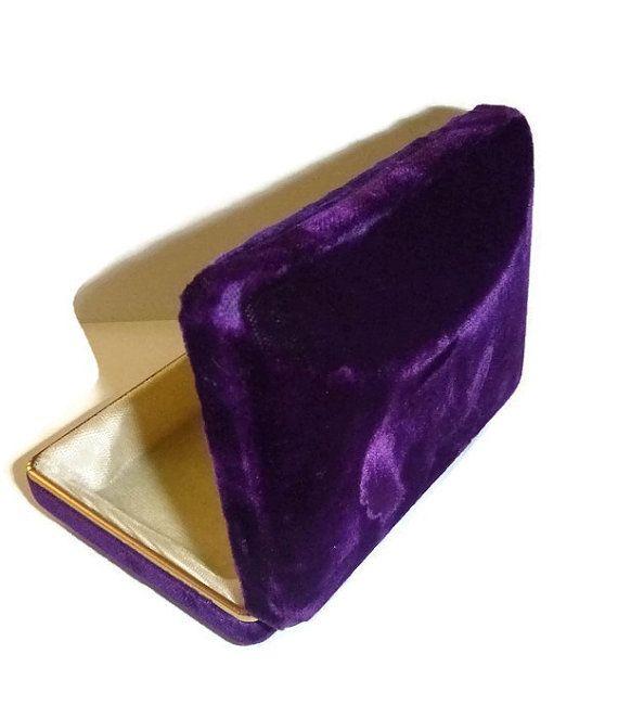RESERVED for Brandi Vintage Deep Purple Velvet Jewelry Box 70s Purple Velvet Gift Box Trinket Jewelry Box Case Gorgeous 70s Deep Purple Box