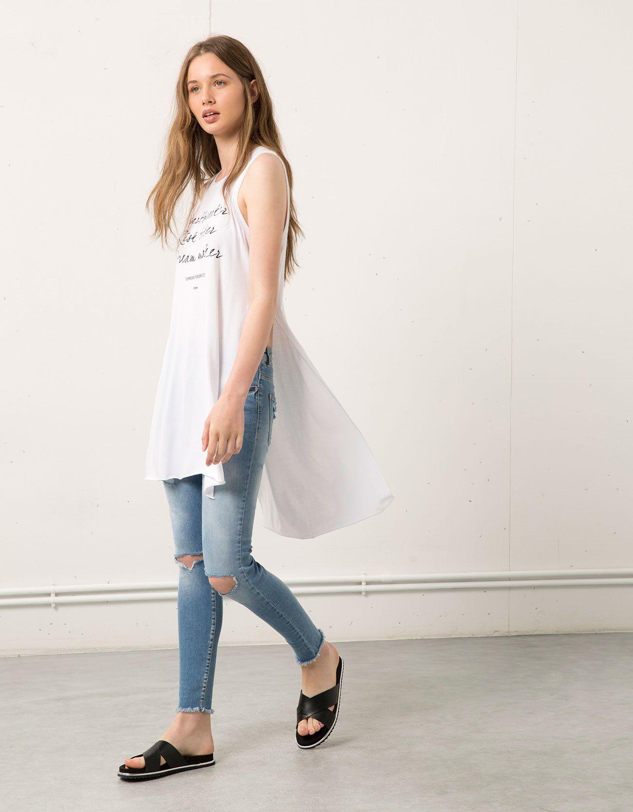 e19cc1d9b5b6 Camiseta larga mujer | BLUSONES | Bershka, Blusones largos de moda y ...