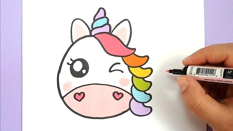 Disegno Con Pennarello Disegno Di Un Unicorno Colorare Con Pennarello Disegni Kawaii Idee Per Disegnare Kawaii
