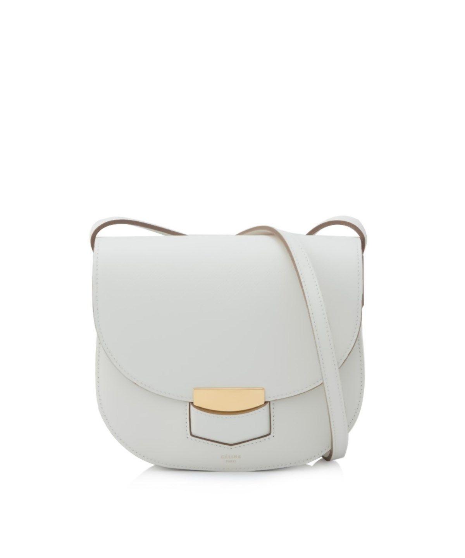 CELINE SMALL TROTTEUR SHOULDER BAG WHITE .  celine  bags  shoulder bags   leather  lining   6208b25435143
