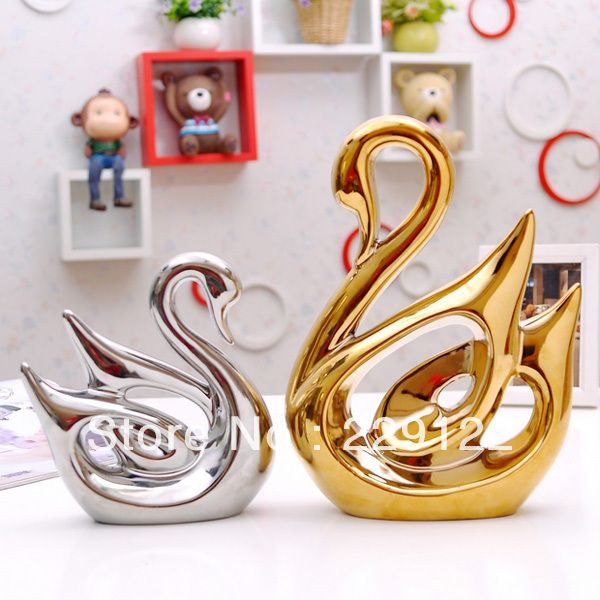 b5ec72f744 Aliexpress.com : Buy New Arrival Handmade Plated Silver and Gold Ceramic  Couples Swans Home Decoration For Wedding Decoration and Gift from .