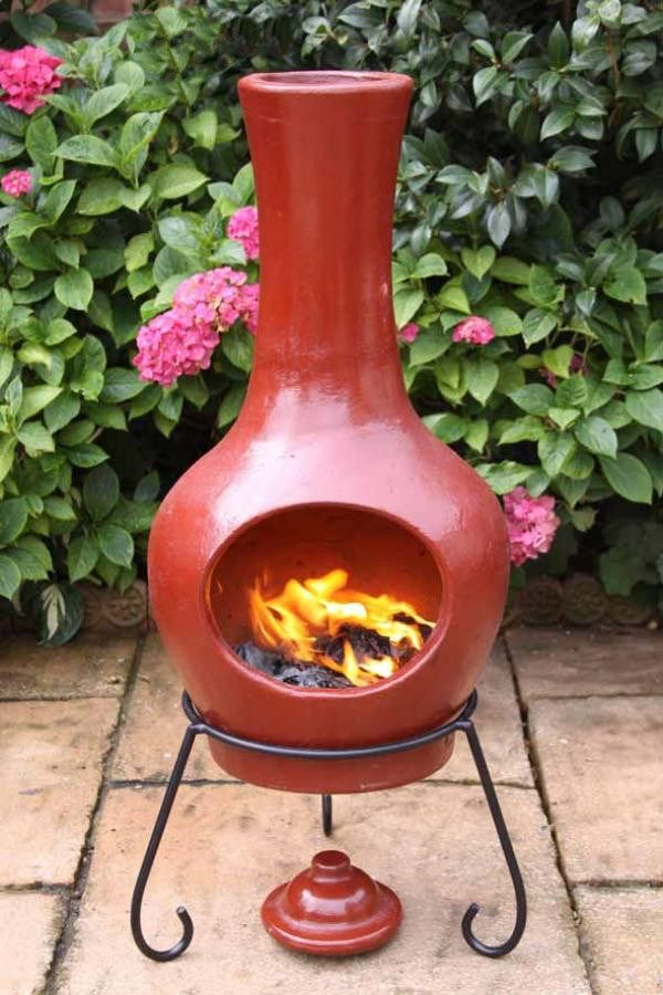 Large Contemporary Clay Chimenea In Red Chiminea Outdoor Fireplace Designs Fire Pots