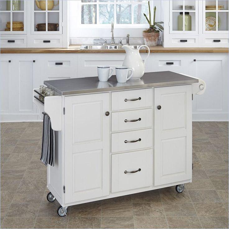 White Portable Kitchen Island Tourcloud Kitchen Home Styles Furniture Stainless Steel Kitchen Cart In Kitchen Cart Portable Kitchen Island White Kitchen Cart