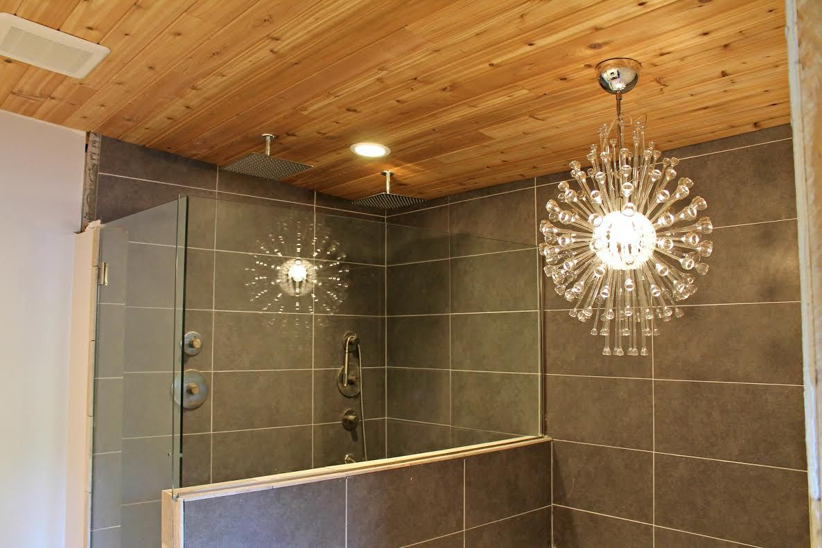Cedar Plank Ceiling 12x24 Mitte Grey Tiles Ikea Stockholm Chandelier Ceiling Tiles Bathroom Bathroom Bathrooms Remodel