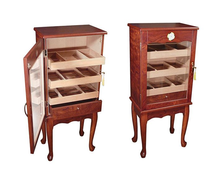 Large Humidor With Glass Door On Legs Cabinet Furniture Home Decor