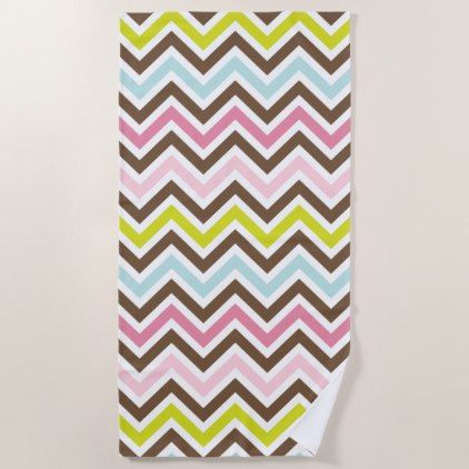 Zigzag Pattern Chevron Pattern Green Pink Blue Beach Towel