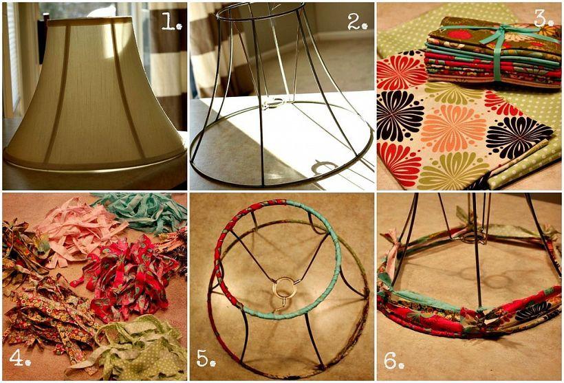 A Diy Fabric Strip Lampshade With Images Lamp Shades Diy