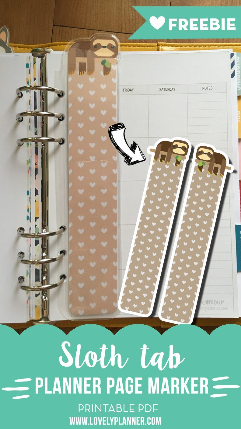 Sloth page marker tab for a planners free printable advent