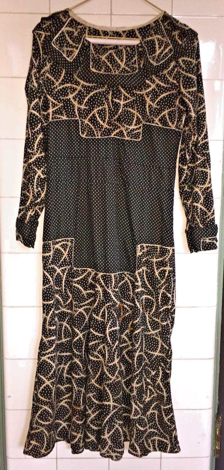 Vintage 1920s 20s Art Deco Black Ivory Cotton Day Dress | eBay