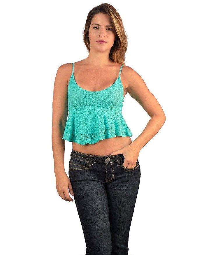 Sleeveless Crochet Peplum Crop Top Is Just $5.99 #affordable plus ...
