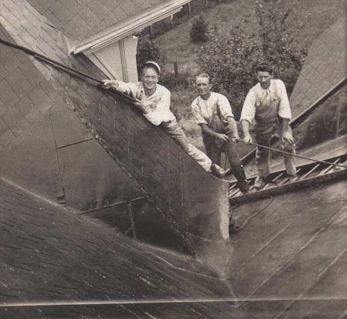Old Photo Of Roofers No Harnesses Just A Ladder And