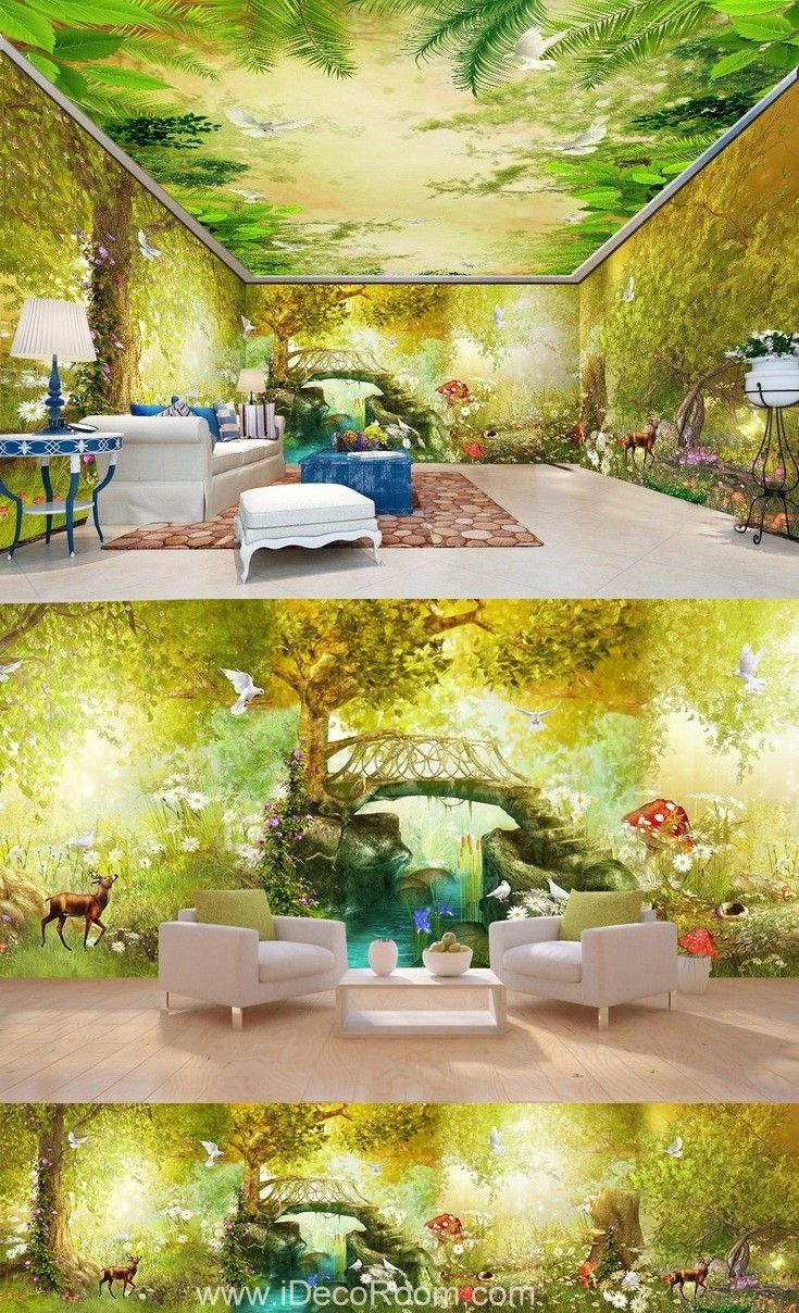 3D Vintage Fairy Garden Wall Murals Wallpaper Decals Art Print Decor ...