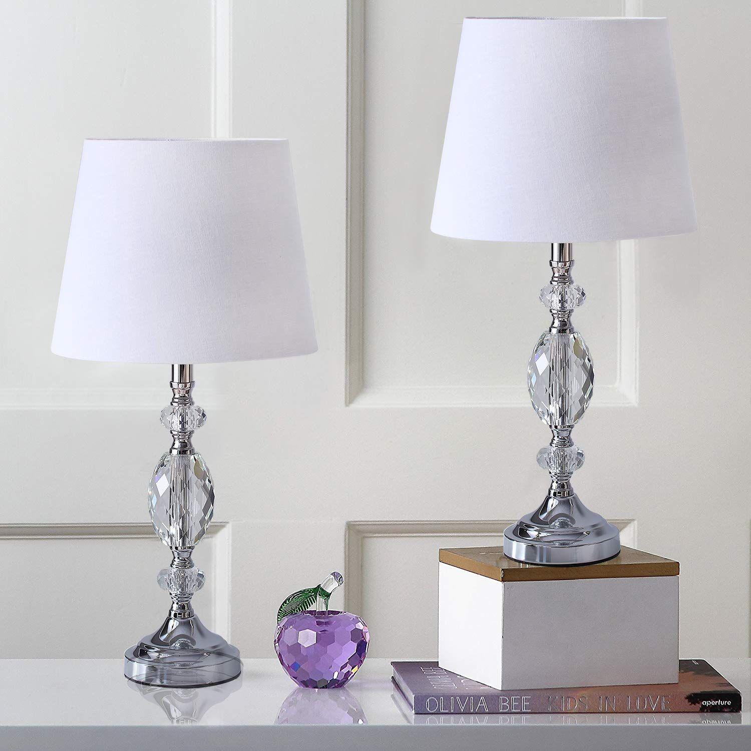 Pauwer Modern Clear Crystal Table Lamps Set Of 2 Bedroom Living Room Bedside 19 Inch Chrome Table Lam Crystal Table Lamps Bedroom Lamps Table Lamps For Bedroom