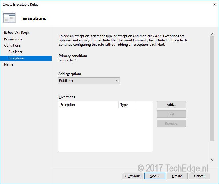 add exception to group policy