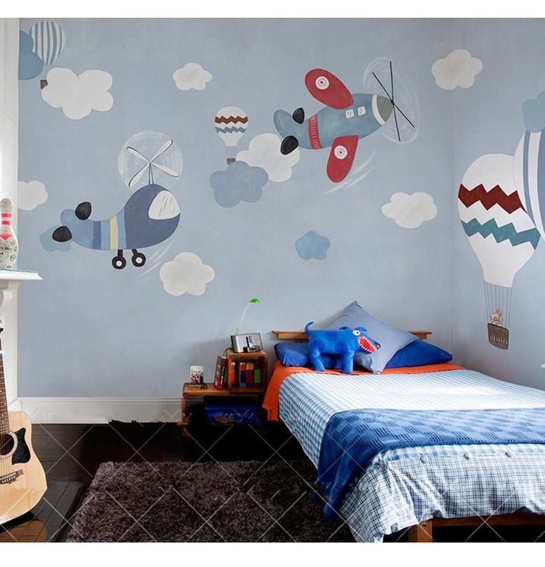 Light Blue Background Big Hotair Balloon Wallpaper Wall