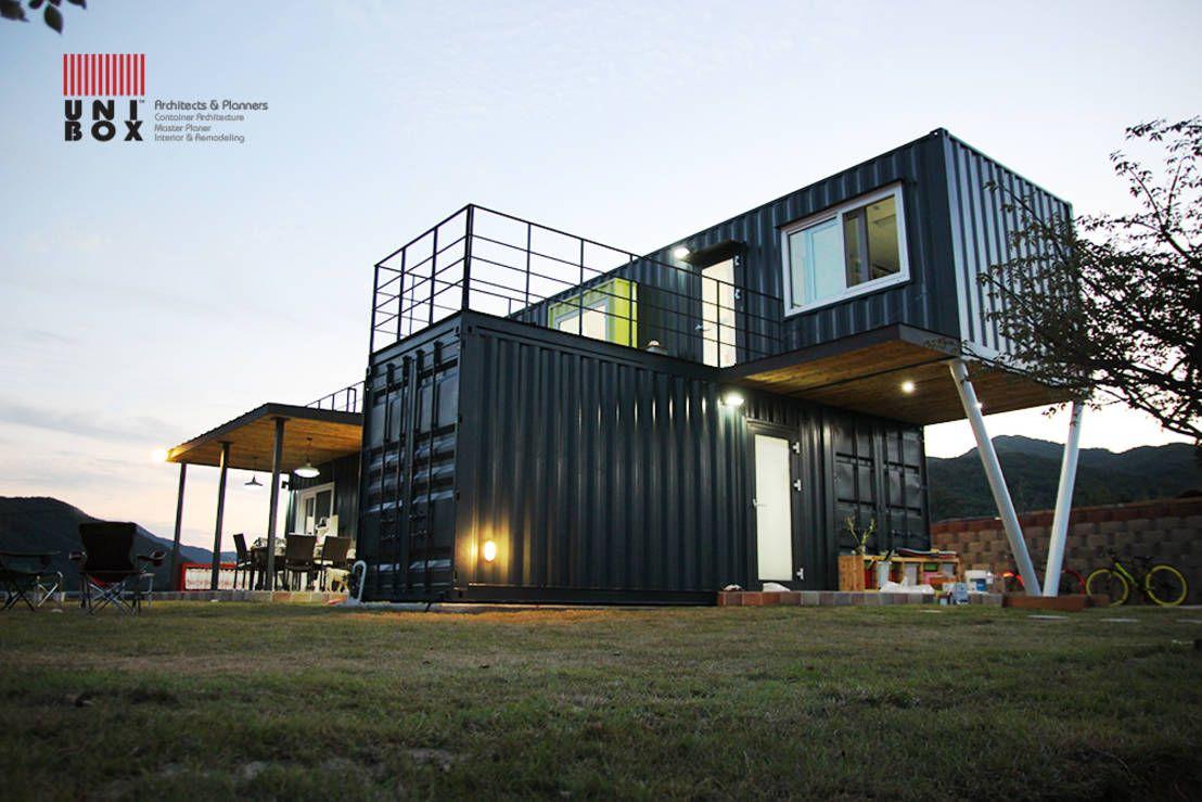 containerhaus aus mehreren schiffscontainern gebaut container h user container und wohnen. Black Bedroom Furniture Sets. Home Design Ideas