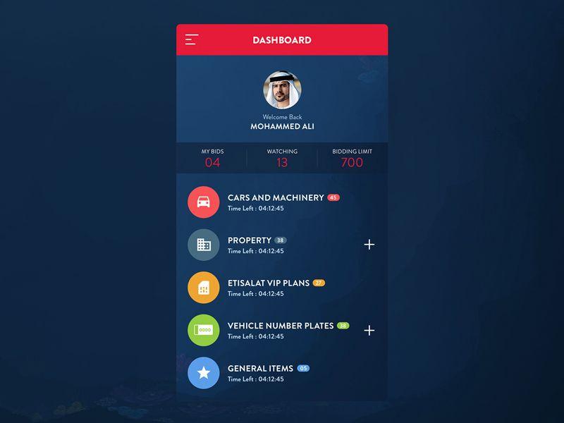 Auction App Dasboard   Mobile UI Examples   Mobile app