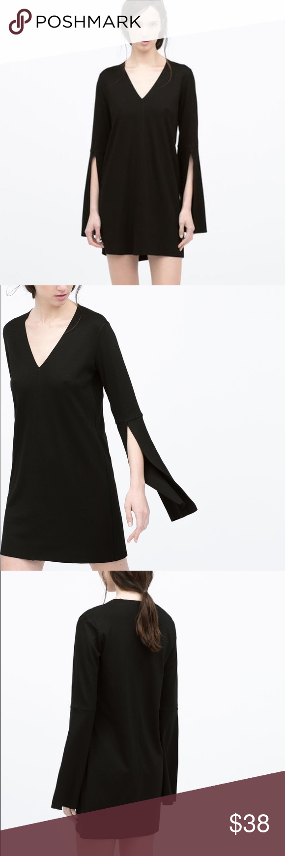 Zara bell sleeve mini dress zara black dress zara black and zara